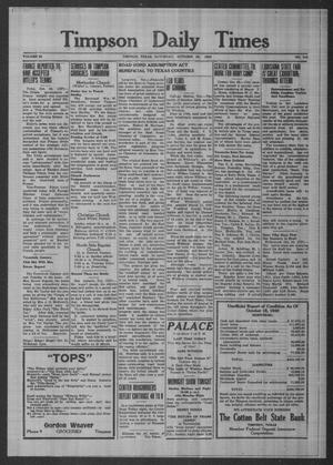 Primary view of object titled 'Timpson Daily Times (Timpson, Tex.), Vol. 55, No. 215, Ed. 1 Saturday, October 26, 1940'.