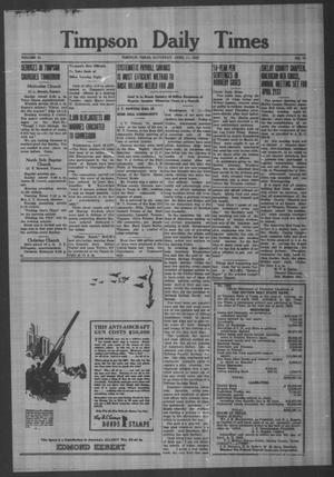 Primary view of object titled 'Timpson Daily Times (Timpson, Tex.), Vol. 41, No. 72, Ed. 1 Saturday, April 11, 1942'.