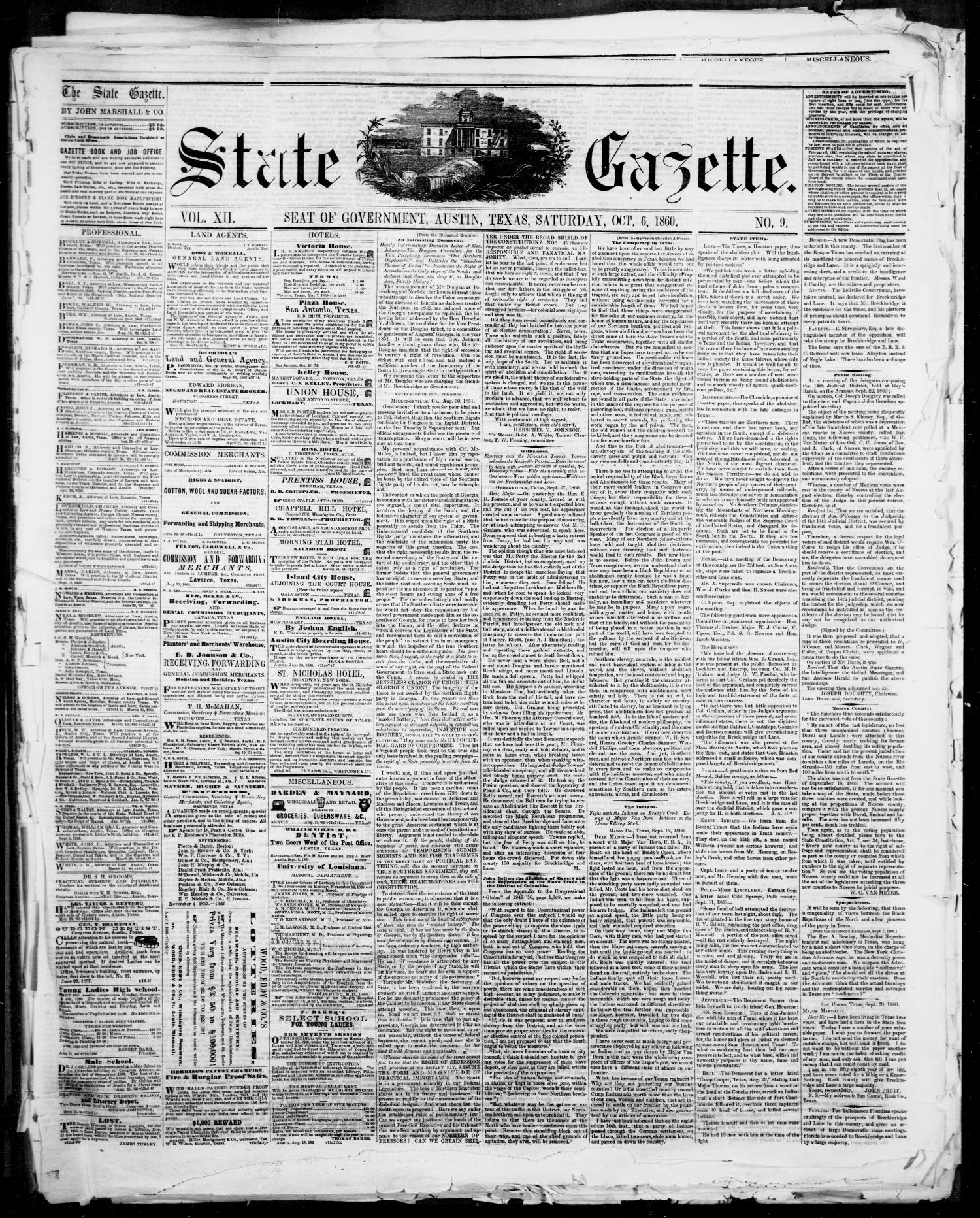 State Gazette. (Austin, Tex.), Vol. 12, No. 9, Ed. 1, Saturday, October 6, 1860                                                                                                      [Sequence #]: 1 of 4