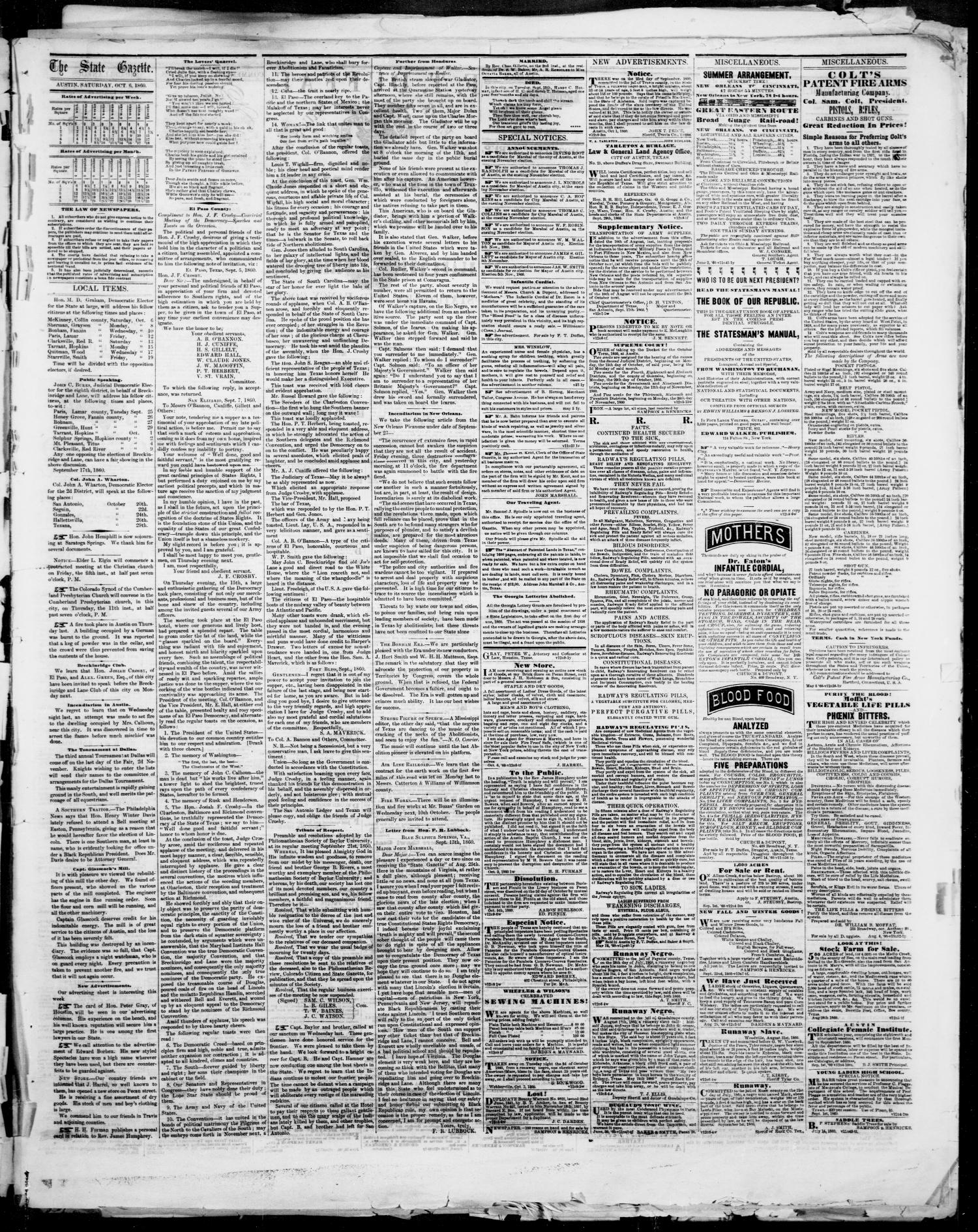 State Gazette. (Austin, Tex.), Vol. 12, No. 9, Ed. 1, Saturday, October 6, 1860                                                                                                      [Sequence #]: 3 of 4