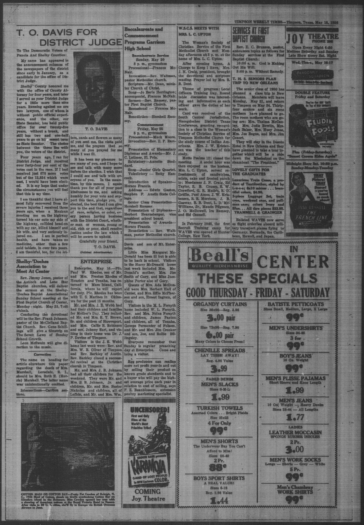 Timpson Weekly Times (Timpson, Tex.), Vol. 71, No. 20, Ed. 1 Friday, May 18, 1956                                                                                                      [Sequence #]: 4 of 16