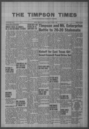 Primary view of object titled 'The Timpson Times (Timpson, Tex.), Vol. 79, No. 40, Ed. 1 Friday, October 2, 1964'.