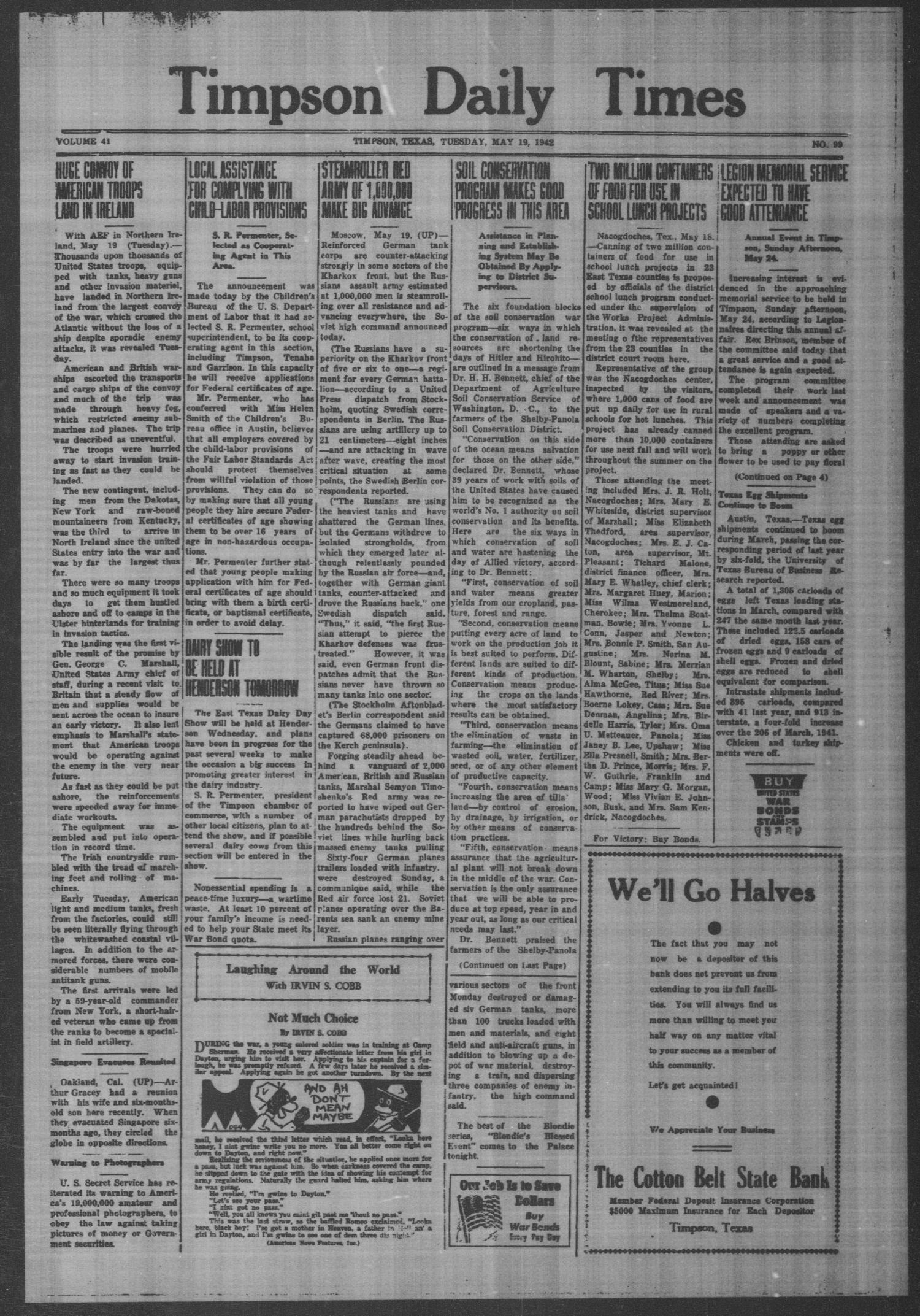 Timpson Daily Times (Timpson, Tex.), Vol. 41, No. 99, Ed. 1 Tuesday, May 19, 1942                                                                                                      [Sequence #]: 1 of 4