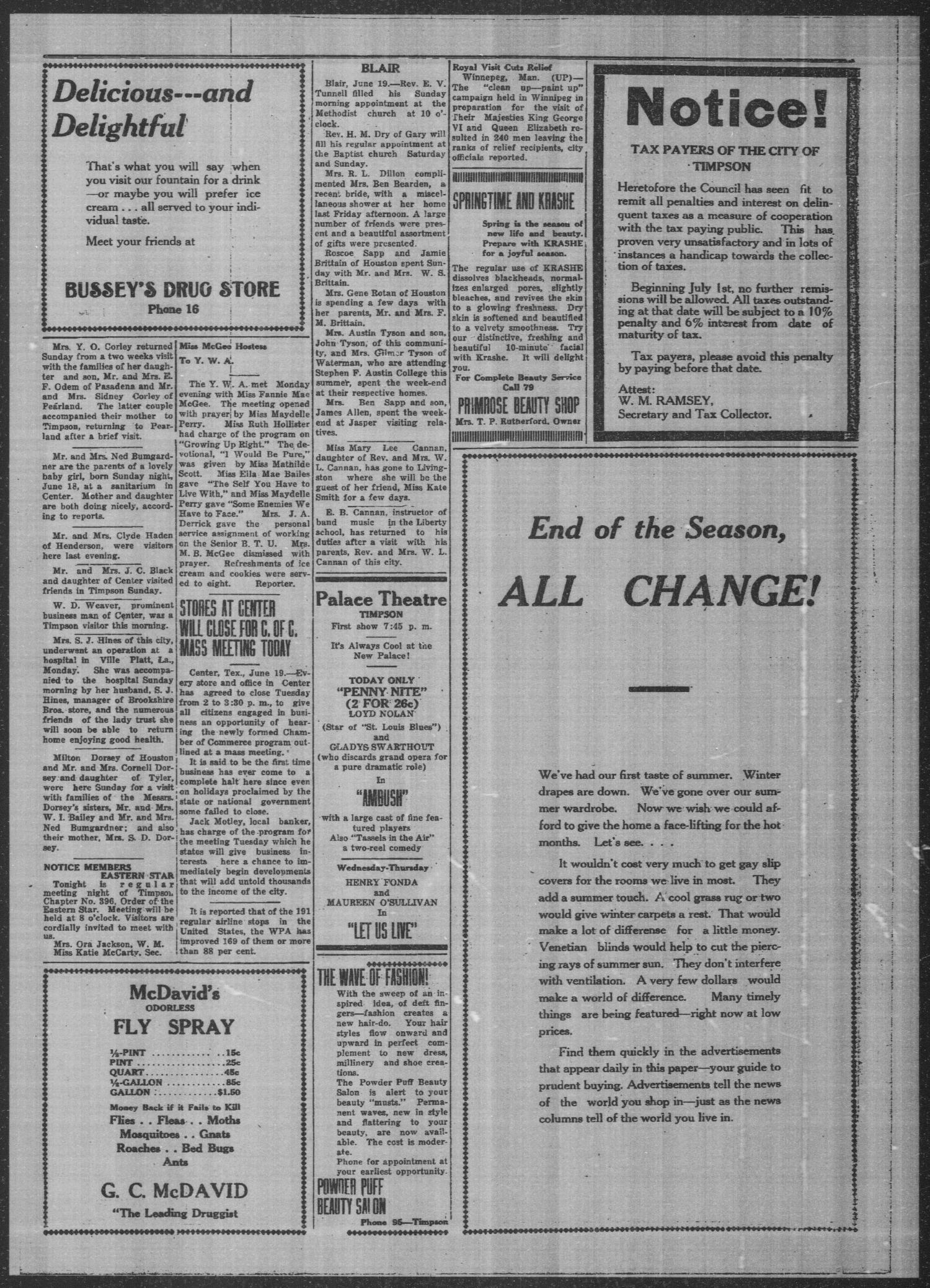 Timpson Daily Times (Timpson, Tex.), Vol. 38, No. 121, Ed. 1 Tuesday, June 20, 1939                                                                                                      [Sequence #]: 3 of 4