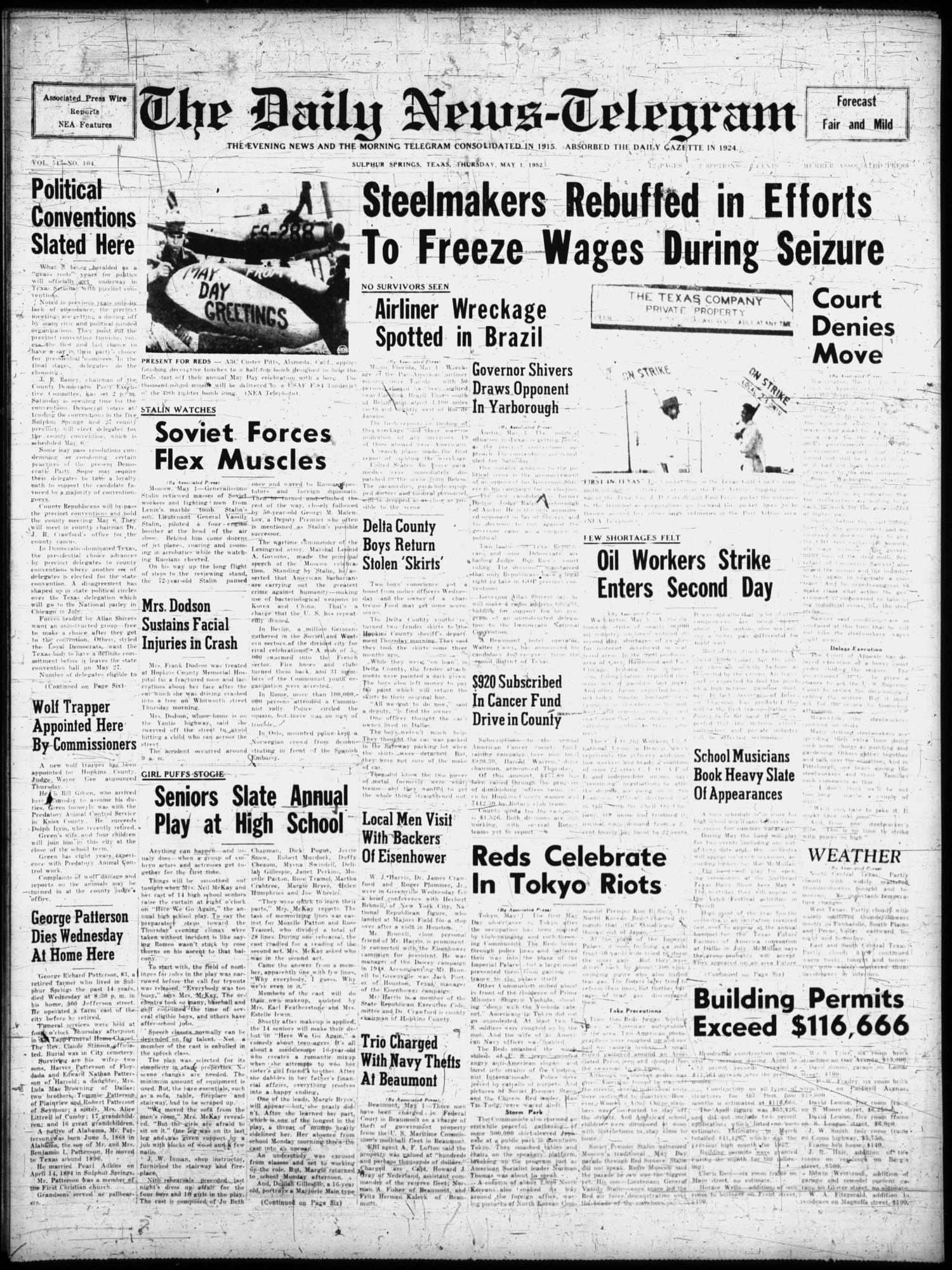 The Daily News Telegram Sulphur Springs Tex Vol 54 No 104 Ed 1 Thursday May 1952