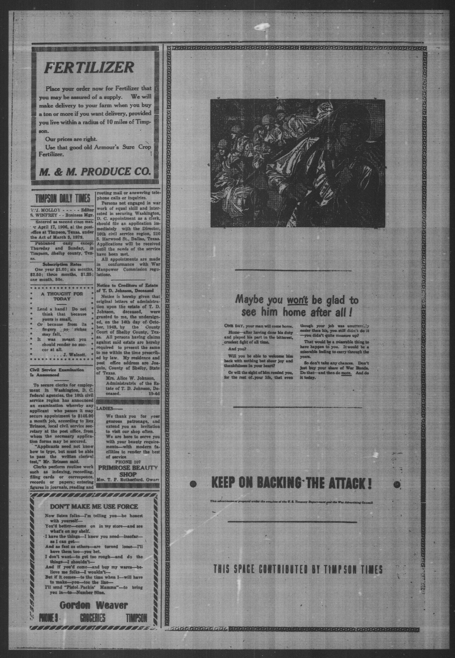 Timpson Daily Times (Timpson, Tex.), Vol. 42, No. 249, Ed. 1 Saturday, December 11, 1943                                                                                                      [Sequence #]: 2 of 4