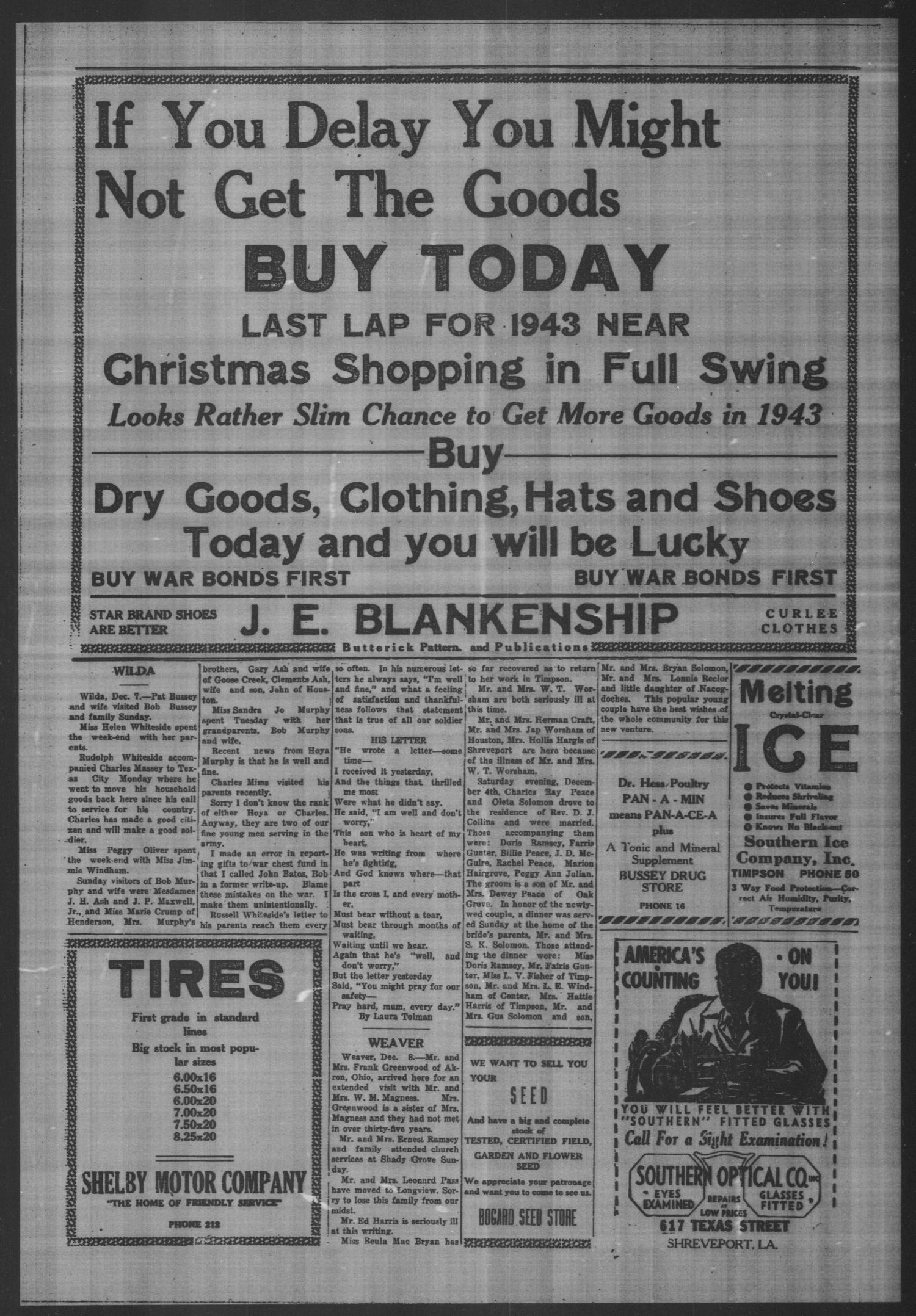 Timpson Daily Times (Timpson, Tex.), Vol. 42, No. 249, Ed. 1 Saturday, December 11, 1943                                                                                                      [Sequence #]: 4 of 4