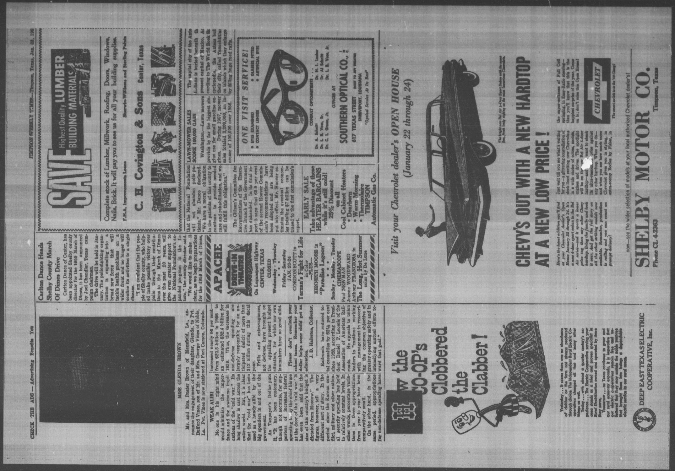Timpson Weekly Times (Timpson, Tex.), Vol. 74, No. 4, Ed. 1 Friday, January 23, 1959                                                                                                      [Sequence #]: 2 of 8