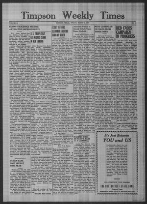 Primary view of object titled 'Timpson Weekly Times (Timpson, Tex.), Vol. 59, No. 9, Ed. 1 Friday, March 3, 1944'.