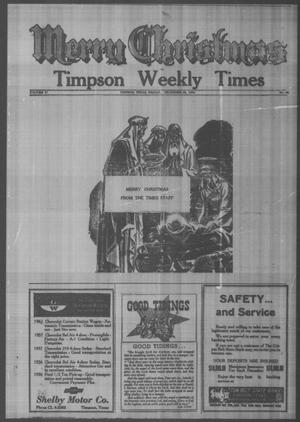Primary view of object titled 'Timpson Weekly Times (Timpson, Tex.), Vol. 77, No. 52, Ed. 1 Friday, December 28, 1962'.