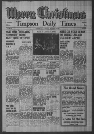 Primary view of object titled 'Timpson Daily Times (Timpson, Tex.), Vol. 41, No. 252, Ed. 1 Tuesday, December 22, 1942'.