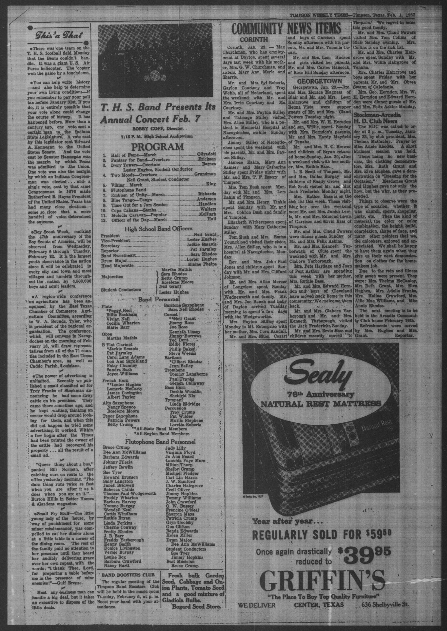 Timpson Weekly Times (Timpson, Tex.), Vol. 72, No. 5, Ed. 1 Friday, February 1, 1957                                                                                                      [Sequence #]: 4 of 8