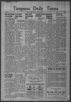 Primary view of object titled 'Timpson Daily Times (Timpson, Tex.), Vol. 41, No. 66, Ed. 1 Friday, April 3, 1942'.