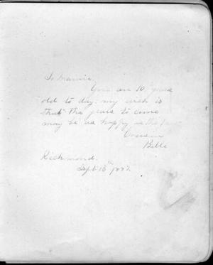 "Primary view of object titled '[A page from an autograph album addressed to a ten year old ""Mamie""]'."