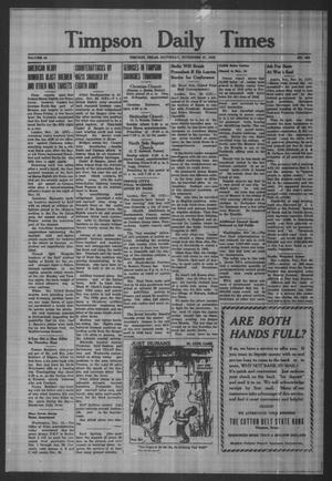 Primary view of object titled 'Timpson Daily Times (Timpson, Tex.), Vol. 42, No. 239, Ed. 1 Saturday, November 27, 1943'.