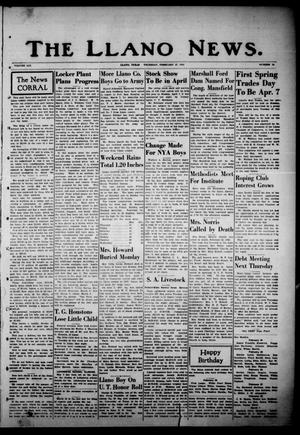 Primary view of object titled 'The Llano News. (Llano, Tex.), Vol. 53, No. 15, Ed. 1 Thursday, February 27, 1941'.