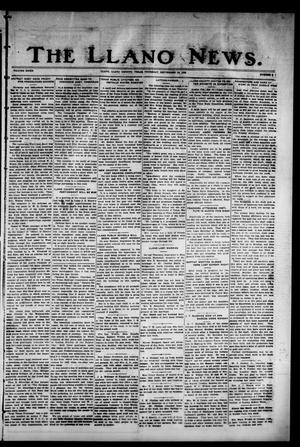Primary view of object titled 'The Llano News. (Llano, Tex.), Vol. 39, No. 2, Ed. 1 Thursday, September 16, 1926'.