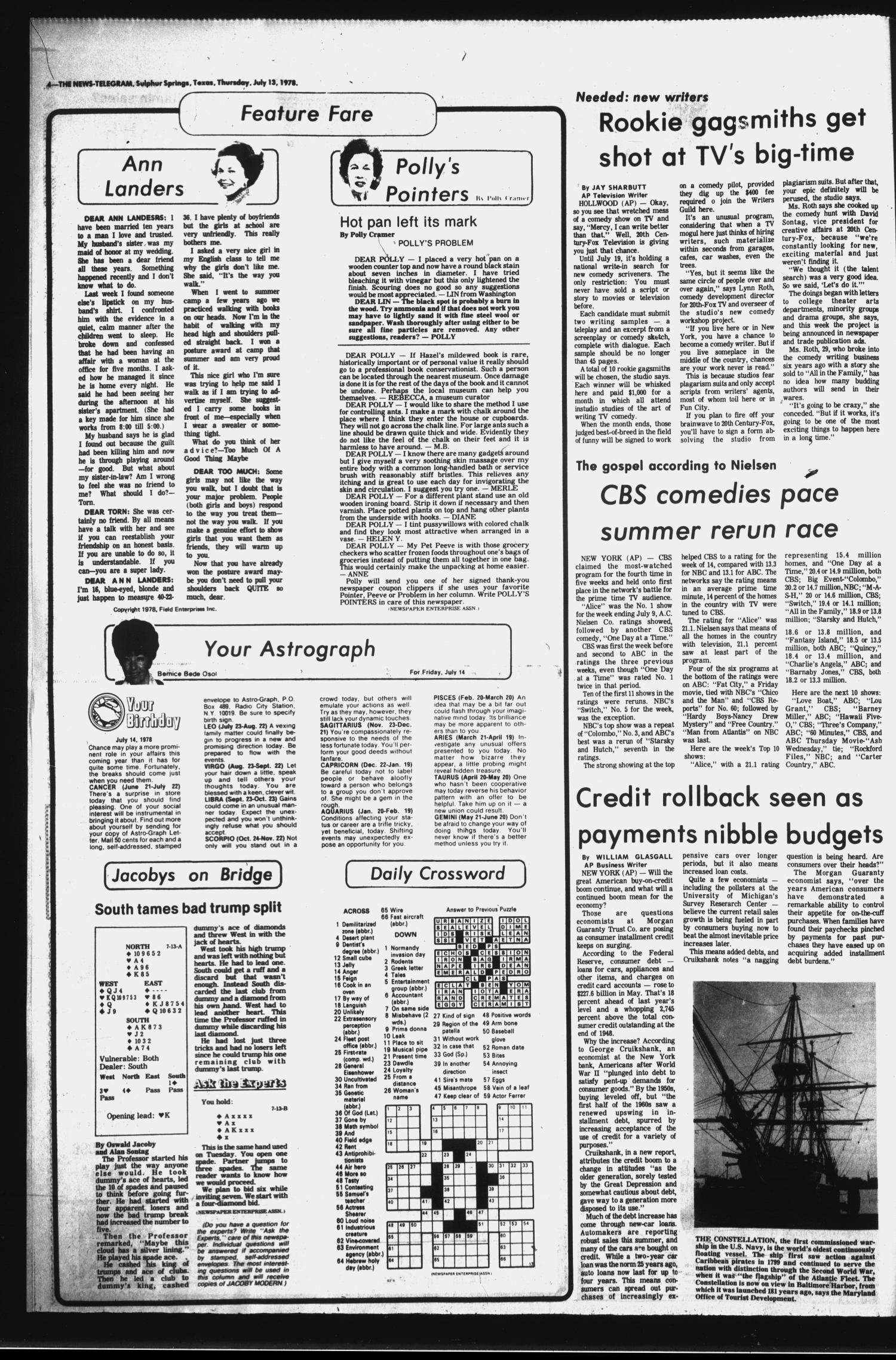 Sulphur Springs News-Telegram (Sulphur Springs, Tex.), Vol. 100, No. 165, Ed. 1 Thursday, July 13, 1978                                                                                                      [Sequence #]: 4 of 16