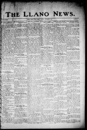 Primary view of object titled 'The Llano News. (Llano, Tex.), Vol. 37, No. 16, Ed. 1 Thursday, November 27, 1924'.