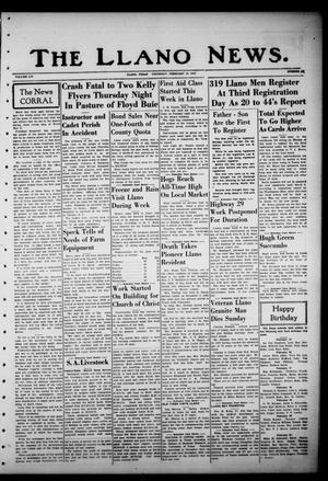 Primary view of object titled 'The Llano News. (Llano, Tex.), Vol. 54, No. 14, Ed. 1 Thursday, February 19, 1942'.
