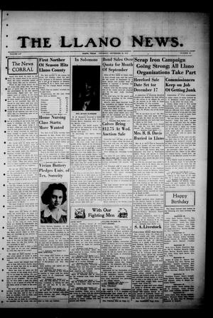 Primary view of object titled 'The Llano News. (Llano, Tex.), Vol. 54, No. 45, Ed. 1 Thursday, September 24, 1942'.