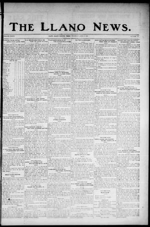 Primary view of object titled 'The Llano News. (Llano, Tex.), Vol. 37, No. 34, Ed. 1 Thursday, April 9, 1925'.