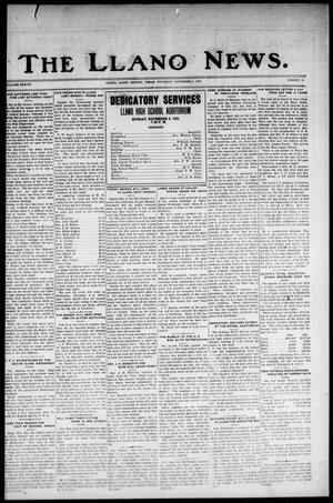 Primary view of object titled 'The Llano News. (Llano, Tex.), Vol. 38, No. 11, Ed. 1 Thursday, November 5, 1925'.