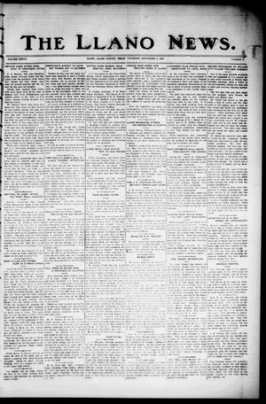 Primary view of object titled 'The Llano News. (Llano, Tex.), Vol. 37, No. 4, Ed. 1 Thursday, September 4, 1924'.