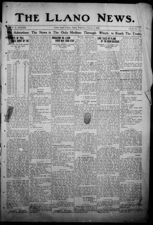 Primary view of object titled 'The Llano News. (Llano, Tex.), Vol. 29, No. 29, Ed. 1 Thursday, February 6, 1913'.