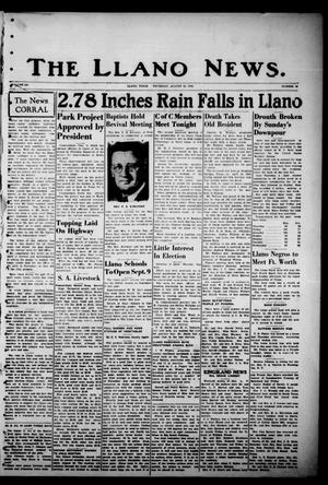 Primary view of object titled 'The Llano News. (Llano, Tex.), Vol. 52, No. 40, Ed. 1 Thursday, August 22, 1940'.