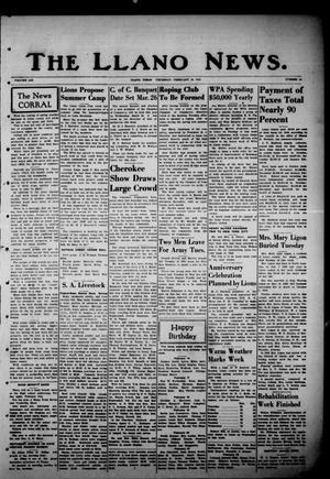 Primary view of object titled 'The Llano News. (Llano, Tex.), Vol. 53, No. 14, Ed. 1 Thursday, February 20, 1941'.
