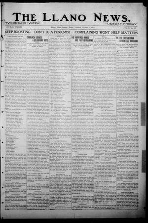 Primary view of object titled 'The Llano News. (Llano, Tex.), Vol. 31, No. 34, Ed. 1 Tuesday, October 6, 1914'.