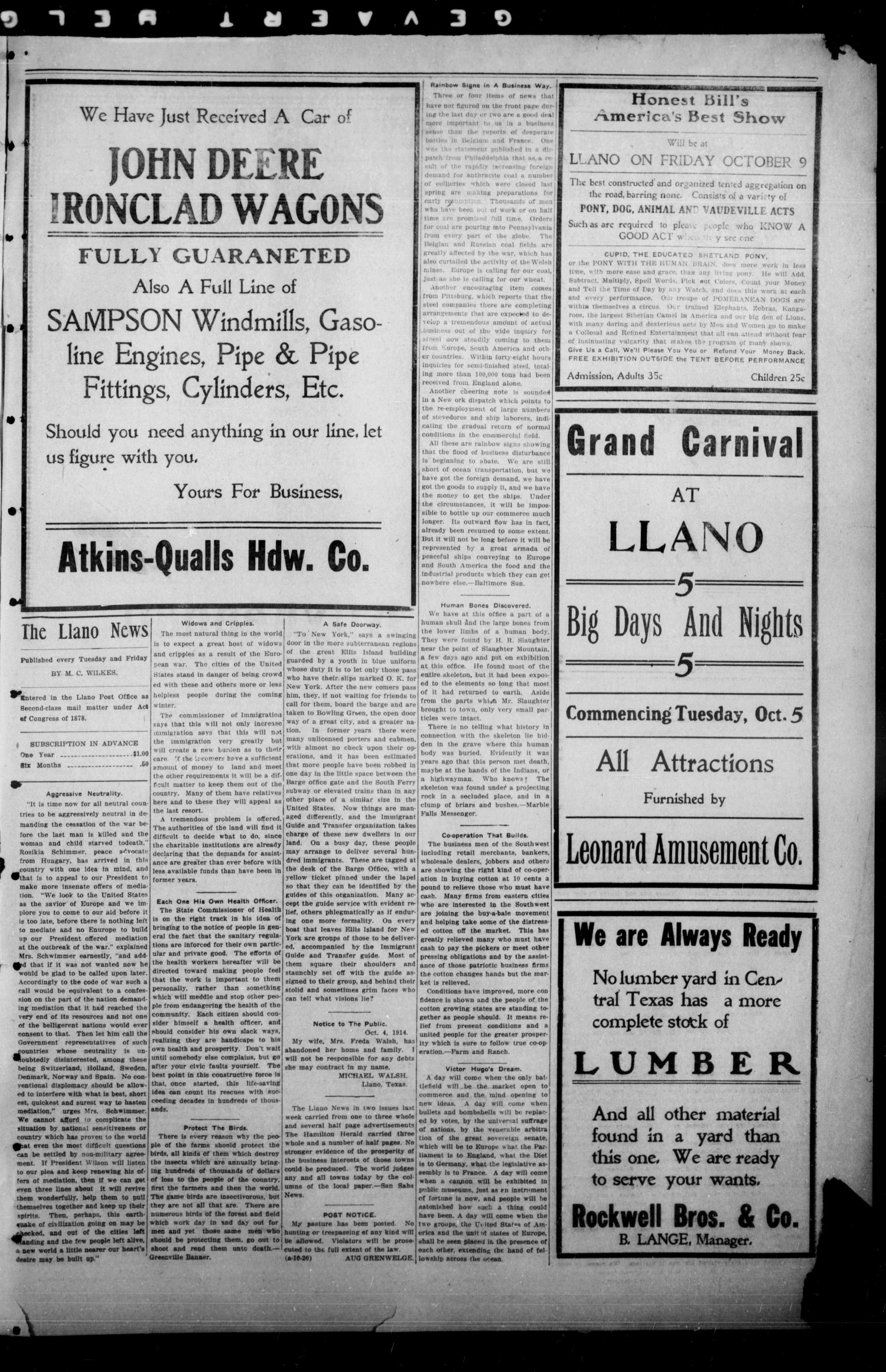 The Llano News. (Llano, Tex.), Vol. 31, No. 34, Ed. 1 Tuesday, October 6, 1914                                                                                                      [Sequence #]: 3 of 4