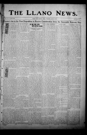 Primary view of object titled 'The Llano News. (Llano, Tex.), Vol. 29, No. 52, Ed. 1 Thursday, July 17, 1913'.
