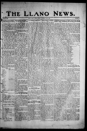 Primary view of object titled 'The Llano News. (Llano, Tex.), Vol. 43, No. 40, Ed. 1 Thursday, July 9, 1931'.