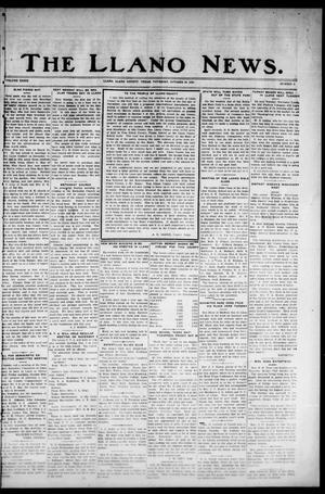 Primary view of object titled 'The Llano News. (Llano, Tex.), Vol. 39, No. 8, Ed. 1 Thursday, October 28, 1926'.
