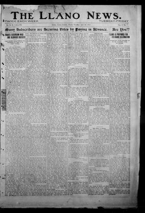 Primary view of object titled 'The Llano News. (Llano, Tex.), Vol. 31, No. 9, Ed. 1 Tuesday, June 30, 1914'.