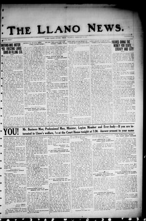 Primary view of object titled 'The Llano News. (Llano, Tex.), Vol. 36, No. 25, Ed. 1 Thursday, February 14, 1924'.