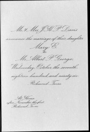 Primary view of object titled '[Wedding invitation to the Mary Davis and Albert P. George wedding]'.