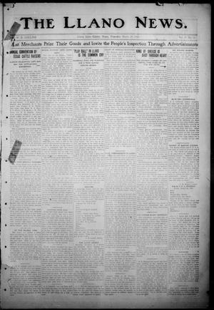 Primary view of object titled 'The Llano News. (Llano, Tex.), Vol. 29, No. 35, Ed. 1 Thursday, March 20, 1913'.