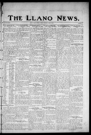 Primary view of object titled 'The Llano News. (Llano, Tex.), Vol. 38, No. 33, Ed. 1 Thursday, April 22, 1926'.
