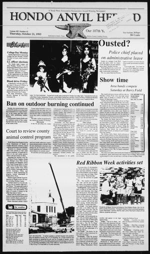 Primary view of Hondo Anvil Herald (Hondo, Tex.), Vol. 107, No. 42, Ed. 1 Thursday, October 21, 1993
