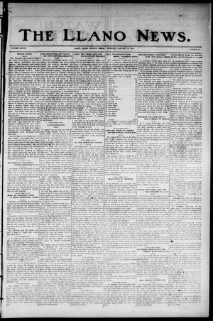 Primary view of object titled 'The Llano News. (Llano, Tex.), Vol. 37, No. 23, Ed. 1 Thursday, January 22, 1925'.
