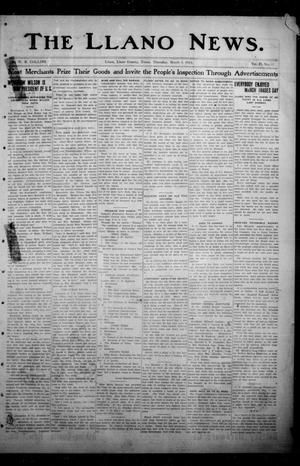 Primary view of object titled 'The Llano News. (Llano, Tex.), Vol. 29, No. 33, Ed. 1 Thursday, March 6, 1913'.