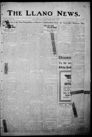 Primary view of object titled 'The Llano News. (Llano, Tex.), Vol. 30, No. 12, Ed. 1 Thursday, October 9, 1913'.