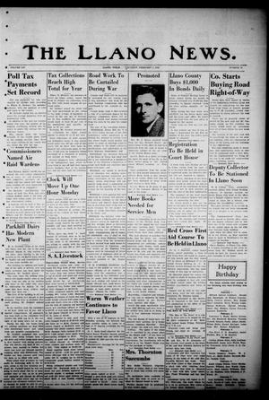 Primary view of object titled 'The Llano News. (Llano, Tex.), Vol. 54, No. 12, Ed. 1 Thursday, February 5, 1942'.