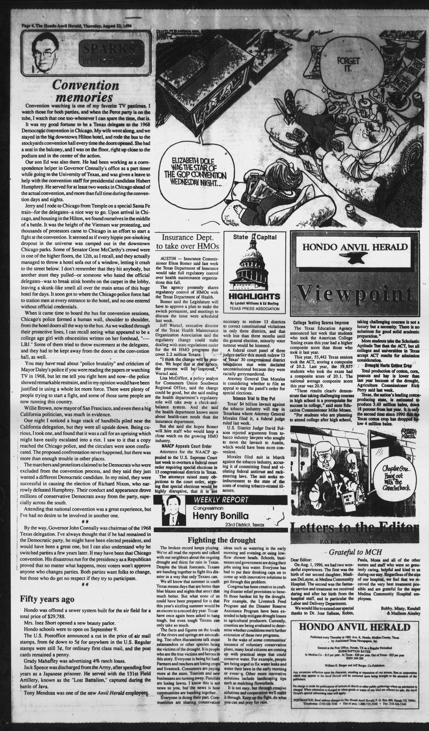 Hondo Anvil Herald (Hondo, Tex.), Vol. 110, No. 34, Ed. 1 Thursday, August 22, 1996                                                                                                      [Sequence #]: 4 of 32