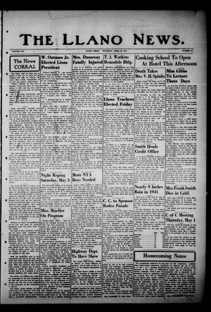 Primary view of object titled 'The Llano News. (Llano, Tex.), Vol. 53, No. 23, Ed. 1 Thursday, April 24, 1941'.