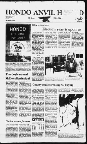 Primary view of object titled 'Hondo Anvil Herald (Hondo, Tex.), Vol. 100, No. 3, Ed. 1 Thursday, January 16, 1986'.