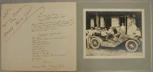"Primary view of object titled '[Nine men standing around and sitting in a Marion ""Bob Cab"" automobile]'."